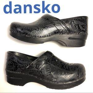 Dansko professional clogs black tooled leather 41